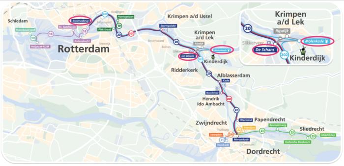 オランダキンデルダイク行きの水上バスの路線図