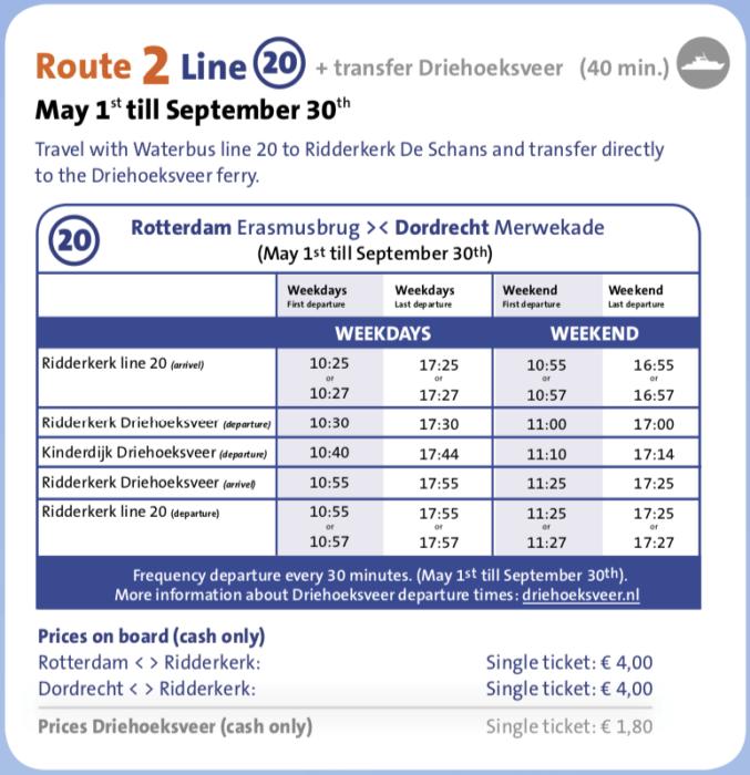オランダキンデルダイク行き水上バス時刻表