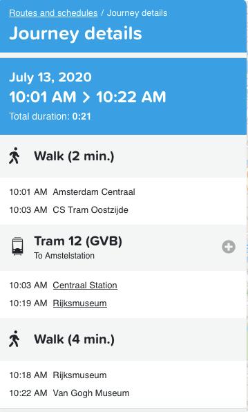 アムステルダム公共交通機関の路線検索方法