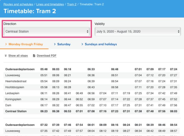 アムステルダム公共交通機関の時刻表検索方法