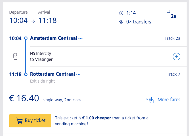 オランダ鉄道NS公式サイトから路線・出発時刻・所要時間・運賃を検索する方法