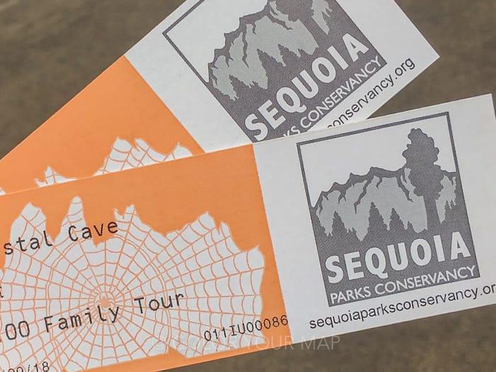 セコイア国立公園の中で唯一中に入れるCrystal Cave(クリスタル洞窟)のチケット