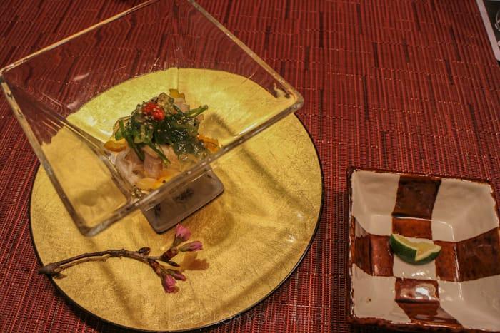 きたの風茶寮の夕食 伊達産鶏和風冷製サムゲタン
