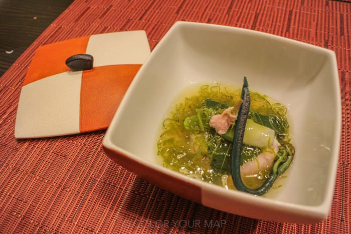 きたの風茶寮の夕食 駿河湾産桜鯛湯葉巻き桜蒸し