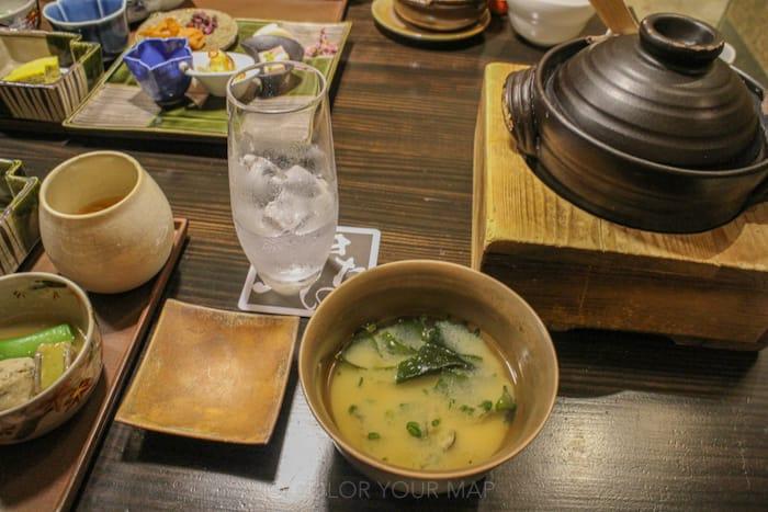 きたの風茶寮の朝食 ゆめぴりかと蜆の味噌汁