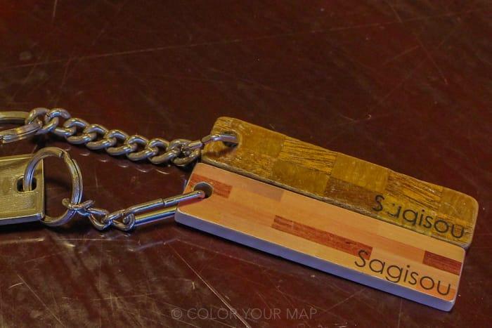 きたの風茶寮の客室の鍵には寄木細工